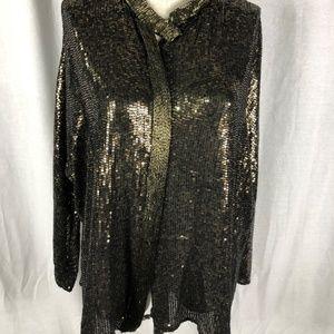 Zara Woman M Blouse Black Gold Sequins Beads
